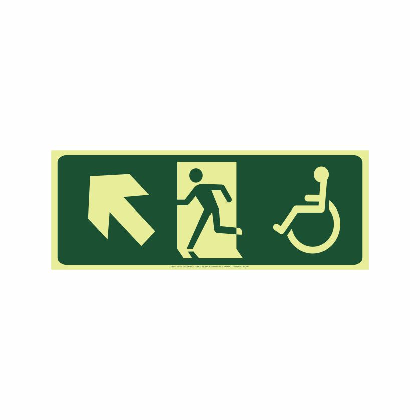 Saída a esquerda acessível acima  - Towbar Sinalização de Segurança