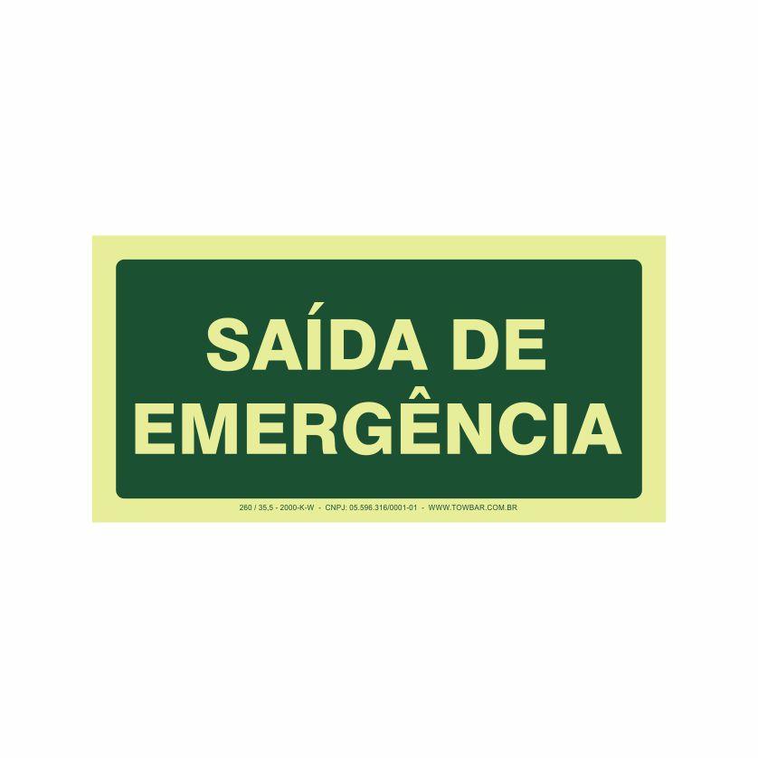 Saída de emergência  - Towbar Sinalização de Segurança