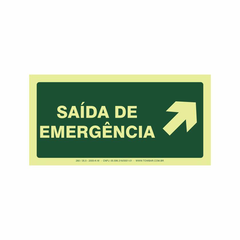 Saída de emergência a direita  - Towbar Sinalização de Segurança