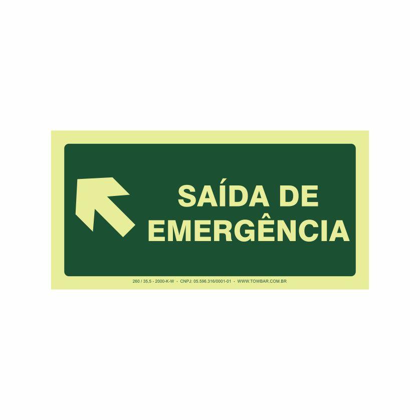 Saída de emergência a esquerda  - Towbar Sinalização de Segurança
