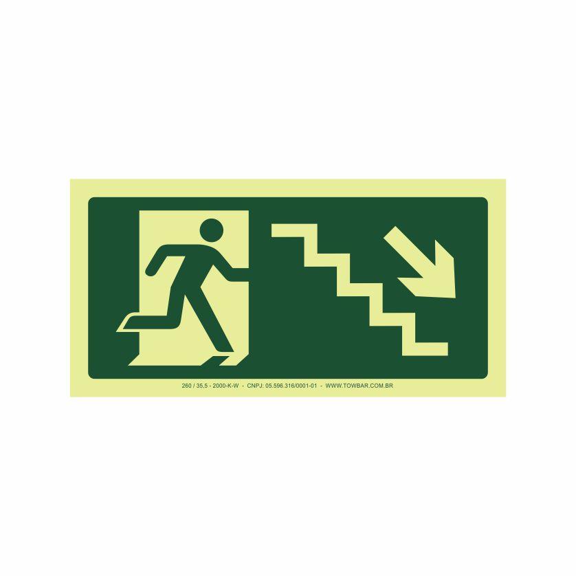 Saída escada direita abaixo  - Towbar Sinalização de Segurança