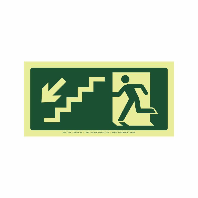 Saída escada esquerda abaixo  - Towbar Sinalização de Segurança