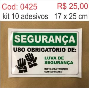 Saldão - Adesivo Uso Obrigatório de Luvas de Segurança  - Towbar Sinalização de Segurança