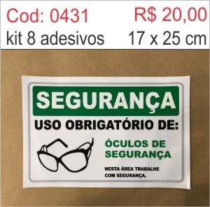 Saldão - Adesivo Uso Obrigatório de óculos de segurança  - Towbar Sinalização de Segurança