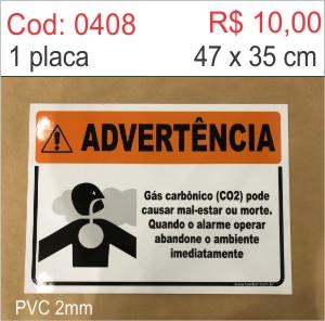 Saldão - Advertência Gás Carbônico pode causar mal-estar ou morte quando o alarme operar abandone o ambiente imediatamente  - Towbar Sinalização de Segurança