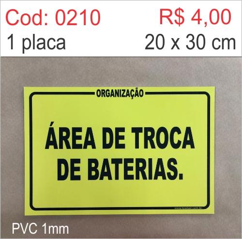 Saldão - Placa Área de Troca de Baterias  - Towbar Sinalização de Segurança