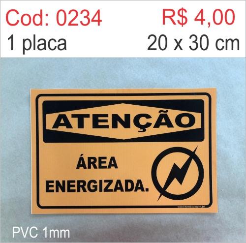 Saldão - Placa Atenção - Área Energizada  - Towbar Sinalização de Segurança