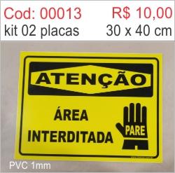 Saldão - Placa Atenção Área Interditada  - Towbar Sinalização de Segurança