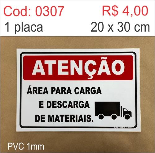 Saldão - Placa Atenção - Área para Carga e Descarga  - Towbar Sinalização de Segurança
