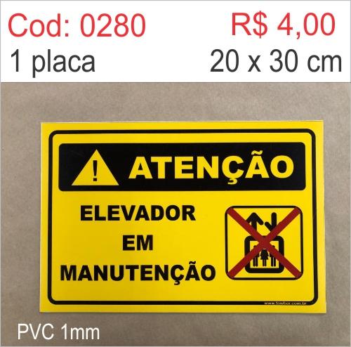 Saldão - Placa Atenção - Elevador em Manutenção  - Towbar Sinalização de Segurança