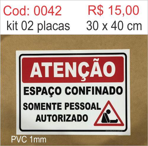 Saldão - Placa Atenção Espaço Confinado Somente Pessoal Autorizado  - Towbar Sinalização de Segurança