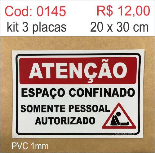 Saldão - Placa Atenção - Espaço Confinado Somente Pessoal Autorizado  - Towbar Sinalização de Segurança