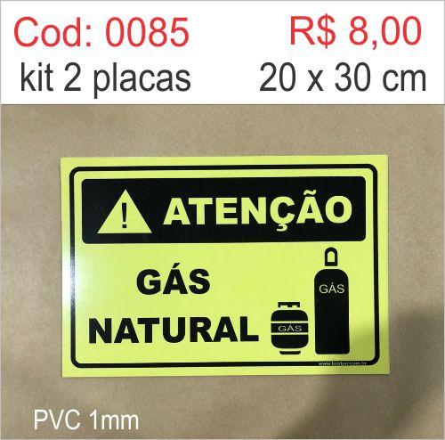 Saldão - Placa Atenção - Gás Natural  - Towbar Sinalização de Segurança