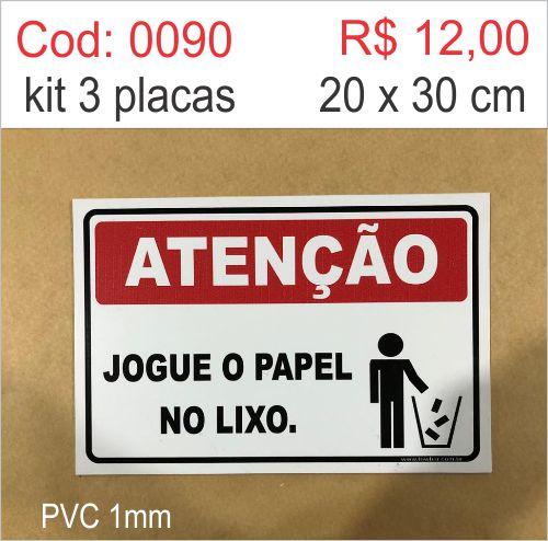 Saldão - Placa Atenção - Jogue o Papel no Lixo  - Towbar Sinalização de Segurança