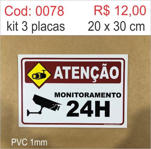 Saldão - Placa Atenção Monitoramento 24h  - Towbar Sinalização de Segurança