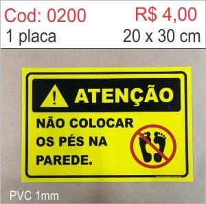 Saldão - Placa Atenção - Não Colocar os Pés Na Parede  - Towbar Sinalização de Segurança