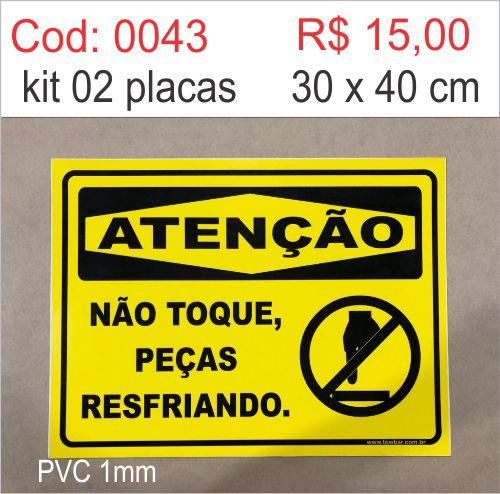 Saldão - Placa Atenção Não Toque Peças Resfriando  - Towbar Sinalização de Segurança