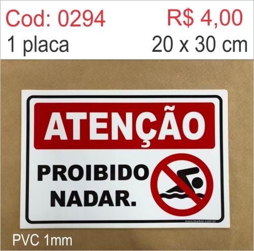 Saldão - Placa Atenção - Proibido Nadar  - Towbar Sinalização de Segurança