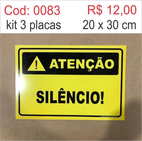 Saldão - Placa Atenção - Silêncio  - Towbar Sinalização de Segurança