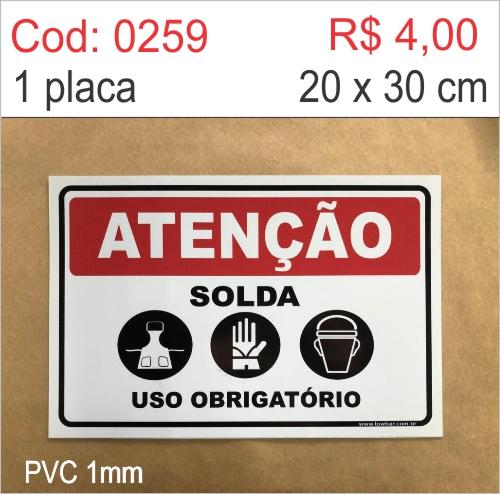 Saldão - Placa Atenção - Solda Uso Obrigatório de Avental, Luvas e Máscara  - Towbar Sinalização de Segurança