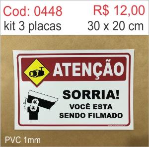 Saldão - Placa Atenção - Sorria você está sendo filmado  - Towbar Sinalização de Segurança