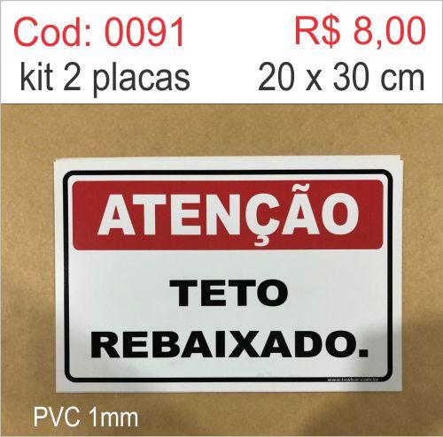 Saldão - Placa Atenção - Teto Rebaixado  - Towbar Sinalização de Segurança