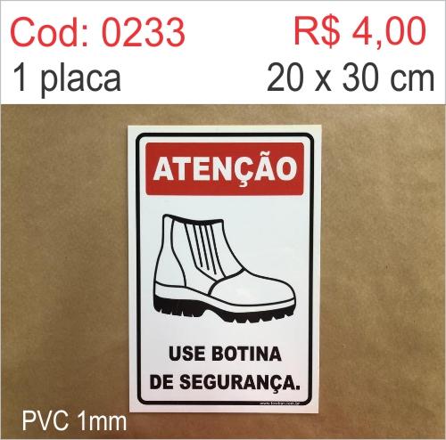 Saldão - Placa Atenção - Use Botina de Segurança  - Towbar Sinalização de Segurança