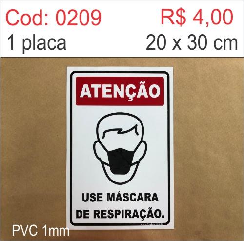 Saldão - Placa Atenção - Use Máscara de Respiração  - Towbar Sinalização de Segurança