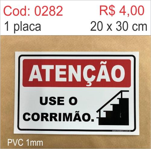Saldão - Placa Atenção - Use o Corrimão   - Towbar Sinalização de Segurança