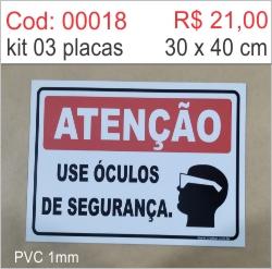 Saldão - Placa Atenção Use Óculos de Segurança  - Towbar Sinalização de Segurança