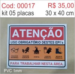 Saldão - Placa Atenção Uso Obrigatório Destes Epis  - Towbar Sinalização de Segurança