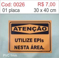 Saldão - Placa Atenção Utilize Epis Nesta Área  - Towbar Sinalização de Segurança