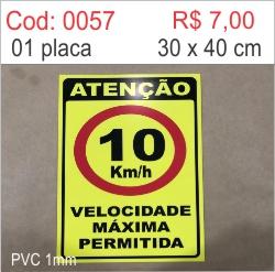 Saldão - Placa Atenção Velocidade Máxima Permitida 10km/h  - Towbar Sinalização de Segurança