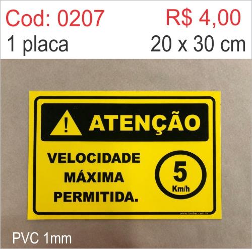 Saldão - Placa Atenção - Velocidade Máxima Permitida  5 km/h  - Towbar Sinalização de Segurança