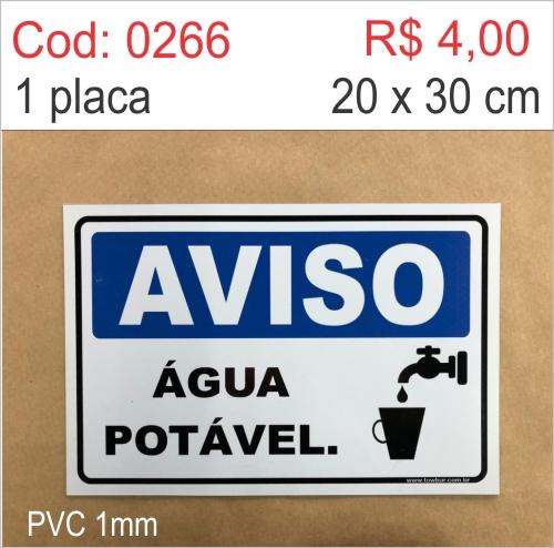 Saldão - Placa Aviso - Água Potável  - Towbar Sinalização de Segurança