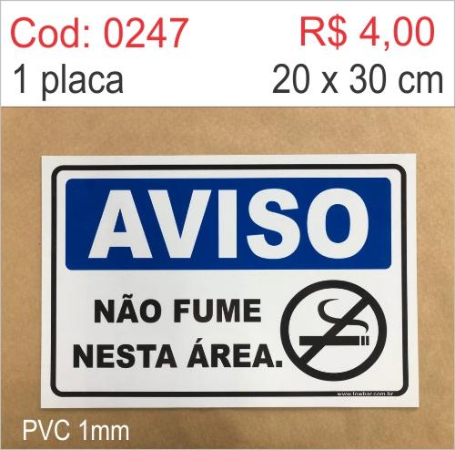 Saldão - Placa Aviso - Não Fume Nesta Área   - Towbar Sinalização de Segurança