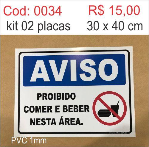 Saldão - Placa Aviso Proibido Comer e Beber Nesta Área  - Towbar Sinalização de Segurança
