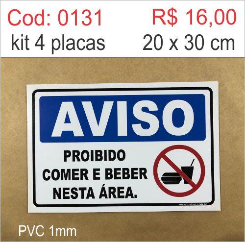 Saldão - Placa Aviso - Proibido comer e beber nesta área   - Towbar Sinalização de Segurança