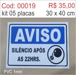 Saldão - Placa Aviso Silêncio Após as 22hs  - Towbar Sinalização de Segurança