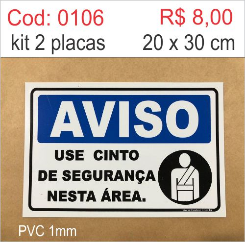 Saldão - Placa Aviso - Use Cinto de Segurança Nesta Área   - Towbar Sinalização de Segurança