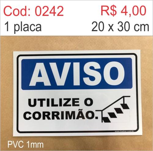 Saldão - Placa Aviso - Utilize o Corrimão   - Towbar Sinalização de Segurança