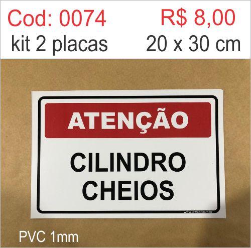 Saldão - Placa Atenção Cilindros Cheios    - Towbar Sinalização de Segurança