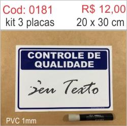 Saldão - Placa Controle de Qualidade  - Towbar Sinalização de Segurança