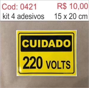 Saldão - Adesivo Cuidado 220 volts  - Towbar Sinalização de Segurança