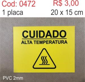 Saldão - Placa Cuidado alta temperatura  - Towbar Sinalização de Segurança