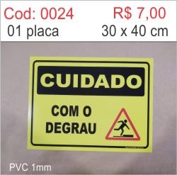 Saldão - Placa Cuidado Com o Degrau   - Towbar Sinalização de Segurança