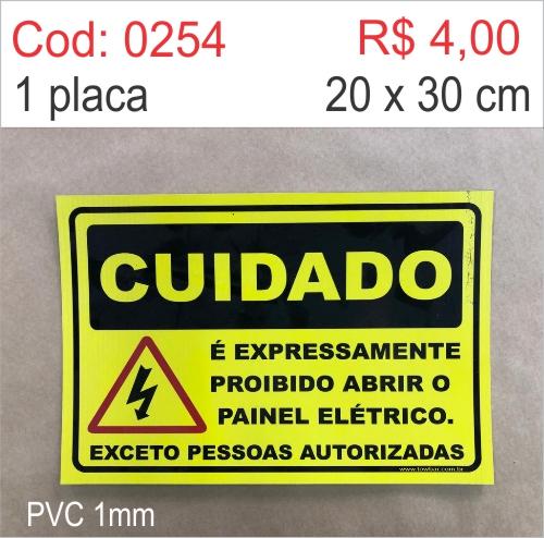 Saldão - Placa Cuidado - É Expressamente Proibido Abrir o Painel Elétrico Exceto Pessoas Autorizadas  - Towbar Sinalização de Segurança
