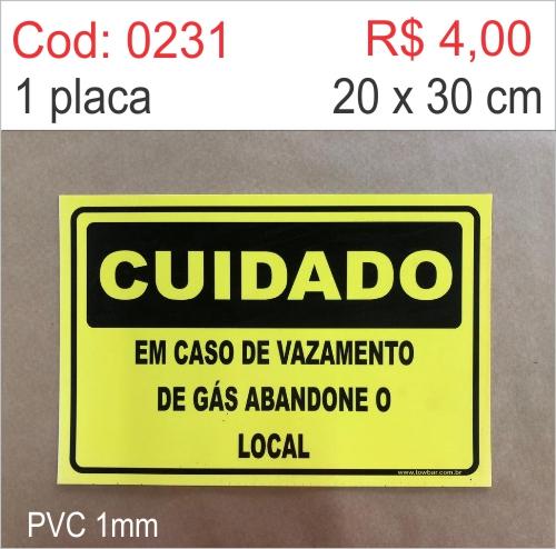 Saldão - Placa Cuidado em Caso de Vazamento de Gás Abandone o Local  - Towbar Sinalização de Segurança