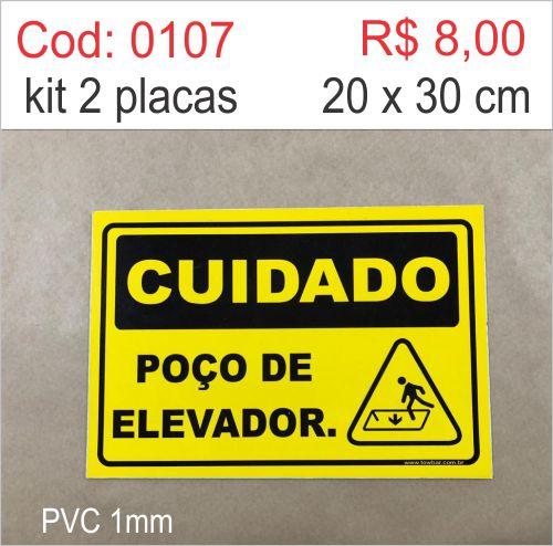Saldão - Placa Cuidado - Poço de elevador  - Towbar Sinalização de Segurança