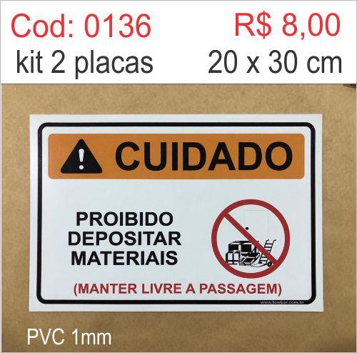 Saldão - Placa Cuidado - Proibido Depositar Materiais  - Towbar Sinalização de Segurança